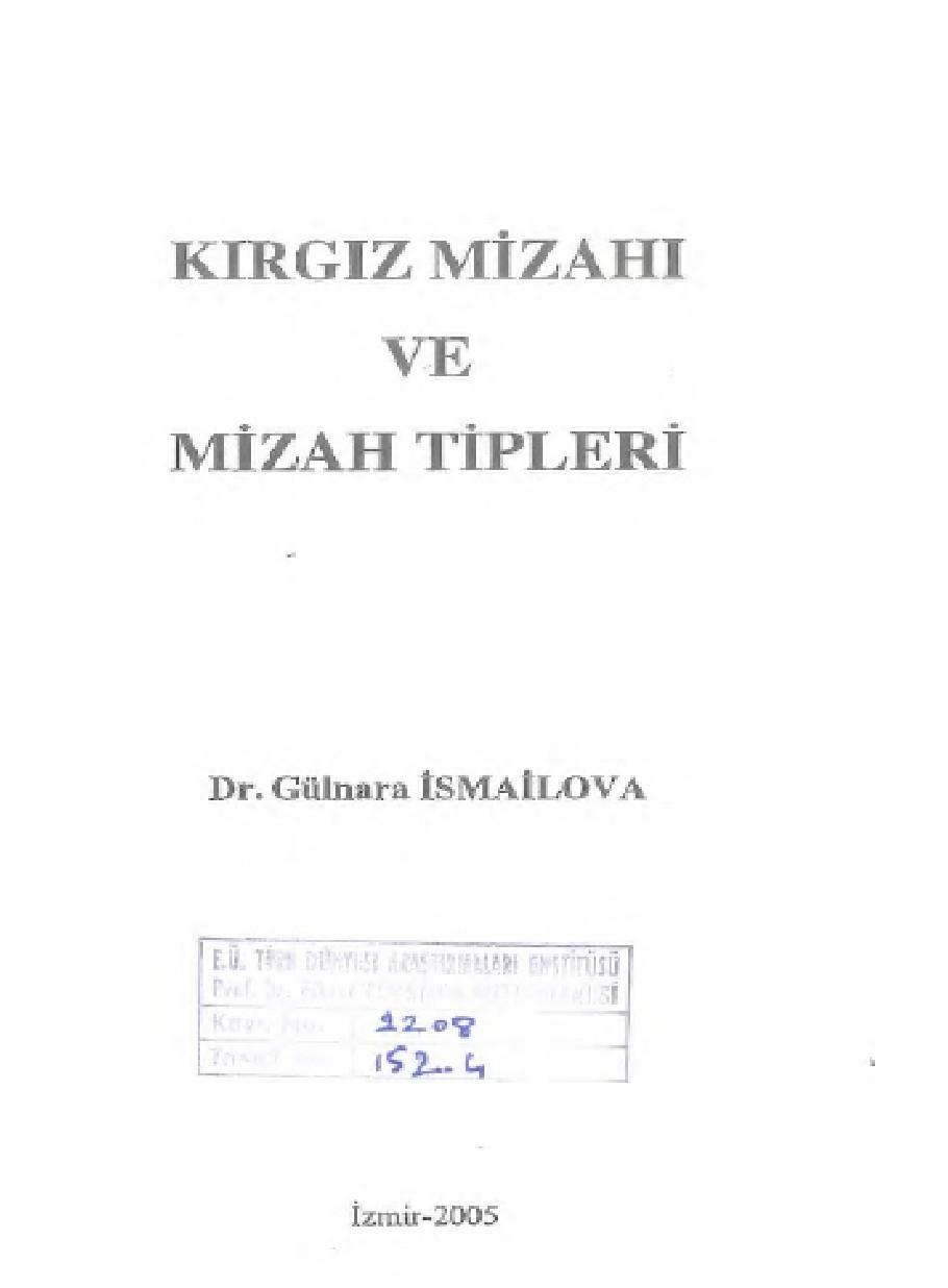 Kırgız Mizahı Ve Mizah Tipleri Kitap Kapağı